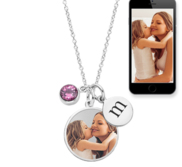 Petite Photo Engraved Charm w  Engravable Disc   Birthstone