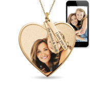 Photo Pendant Heart Necklace w  Personalized Name Tags