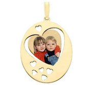 Oval W  Heart Cut Out Design Photo Pendant Picture Charm