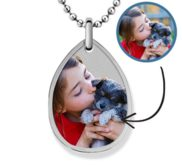 Stainless Steel Teardrop Photo Pendant w  24 inch Ball Chain