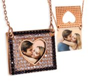 Photo Engraved Flip Up CZ Square Frame Necklace