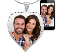 Sterling Silver Valentine s Day Photo Engraved Heart Package