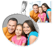 Medium Oval Pendant with Diamond Cut Edge Photo Pendant Picture Charm