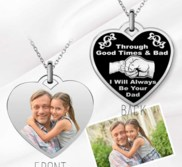 Stainless Steel  Dad   Daughter  Photo Engraved Heart Pendant with 18  Chain