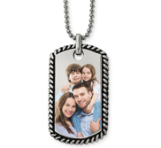 Stainless Steel Twisted Rope Edge Dog Tag Pendant w  Chain