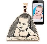 Antiqued Laser Carved Photo Outline Pendant or Charm