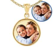 Petite Round Bezel Frame Photo Engraved Pendant
