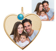 Heart with Border Photo Pendant Picture Charm w  Birthstone
