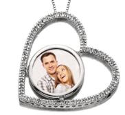 14k White Gold Diamond Heart Photo Pendant Picture Charm