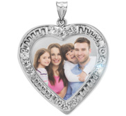 Sterling Silver Photo Engraved Cubic Zirconia Heart Pendant