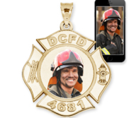 Fire Fighter Badge Photo Pendant Picture Charm with Name and Number