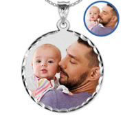 Round w  Diamond Cut Edge Photo Engraved Pendant