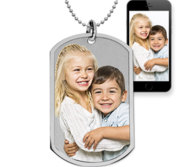 Stainless Steel Photo Dog Tag Photo Pendant w  24 inch Ball Chain