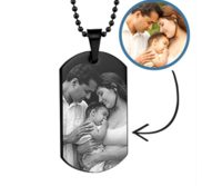 Black Stainless Steel Laser Photo Dog Tag Photo Pendant w  24 inch Ball Chain
