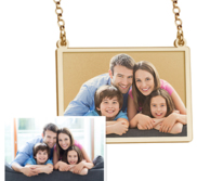 Sideways Rectangle Photo Engraved Necklace w  18  Chain