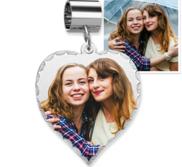 Sterling Silver Petite Heart Bead Bracelet Photo Charm