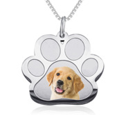 Stainless Steel Photo Engraved Paw Print Pendant With Chain