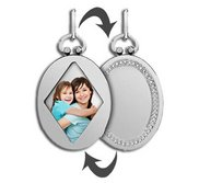 Sterling Silver Open Face Oval Photo Pendant w  Engravable Back