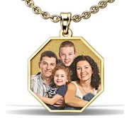 Octagon with Border Photo Pendant Picture Charm