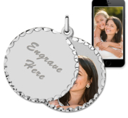 White Gold Round Swivel Photo Pendant