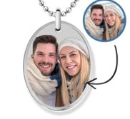 Stainless Steel Oval Photo Pendant w  24 inch Ball Chain