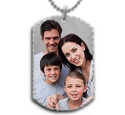 Solid Sterling Silver Medium Photo Engraved Dog Tag Photo Pendant