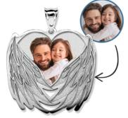 Custom Photo Engraved Angel Wing Charm or Pendant