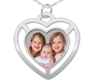 Photo Engraved Floating Heart Pendant