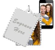 White Gold Petite Rectangle Swivel Photo Pendant Picture Charms