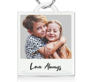 Personalized Polaroid Style Photo Engraved Necklace