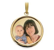 Small Round w  Bezel Frame  amp  Protective Crystal Photo Pendant