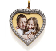 Medium Diamond Heart Photo Pendant Picture Charm