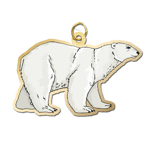 Silver Toned Etched Oval Polar Bear Tie Tack
