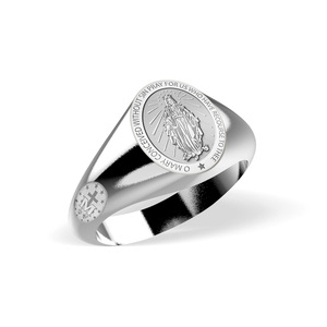 Miraculous Medal Virgin Mary Signet Ring  EXCLUSIVE