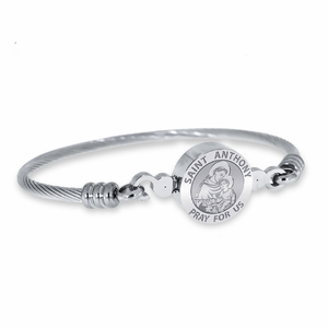 Stainless Steel Saint Anthony Bangle Bracelet