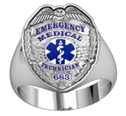 Personalized EMT Badge Ring with Your Badge Number