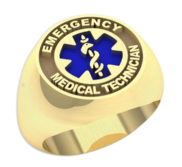 Emergency Medical Technician   Round Signet EMT Ring