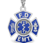 Fire Department EMT Blue Enameled Pendant