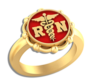 Registered Nurse   Round With Floral Border Signet RN Ring
