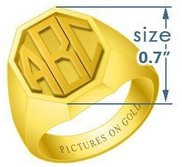 Octagonal Classic Embossed Monogram Ring