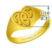 Heart Girls s Embossed Monogram Ring