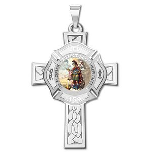 Saint Florian Personalized Fire Badge Cross Religious Color Medal   EXCLUSIVE