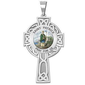 Saint Patrick CELTIC CROSS Religious Medal   Color EXCLUSIVE