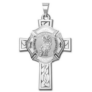 Saint Florian Personalized Fire Badge Cross Religious Medal   EXCLUSIVE