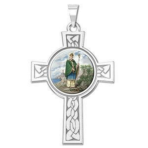 Saint Patrick Cross Religious Medal   Color EXCLUSIVE