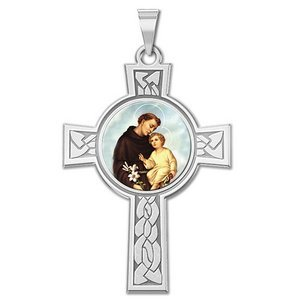 Saint Anthony Cross Religious Medal   Color EXCLUSIVE