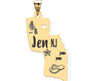 Personalized State Pendant of Your Choice w  18  Chain