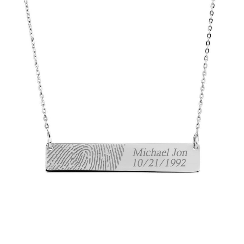 Personalized thin sideways rectangle fingerprint pendant pg90538 catalog mozeypictures Image collections