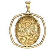Custom Fingerprint 3D Square Pendant