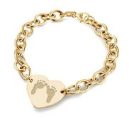 14k Yellow Gold Custom Footprint Heart Bracelet